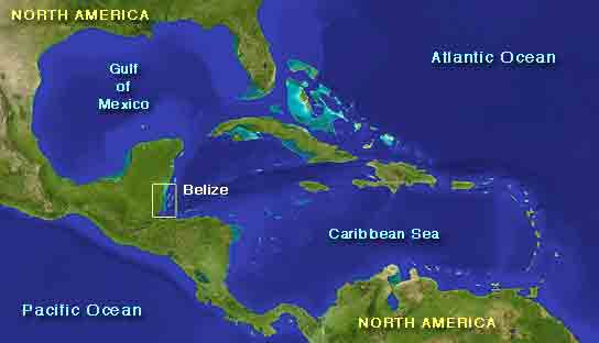 The Belize Whale Shark Expedition - Caribbean Sea Map